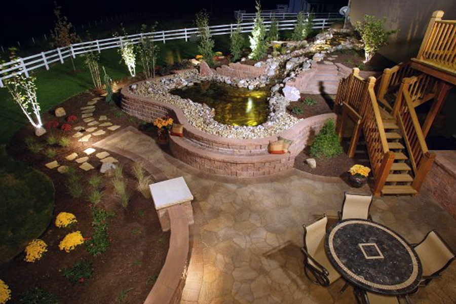 Omaha backyard living landscape lighting project